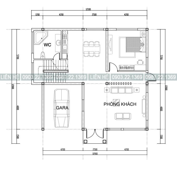 Mặt bằng tầng 1 - Mẫu biệt thự 2 tầng đẹp bán cổ điển 12x12m màu Cafe cá tính