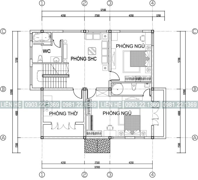 Mặt bằng tầng 2 - Mẫu biệt thự 2 tầng đẹp bán cổ điển 12x12m màu Cafe cá tính
