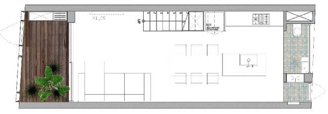 Mặt bằng tầng 1 - Nhà phố hiện đại 3 tầng 4x10m độc đáo với lam chắn nắng