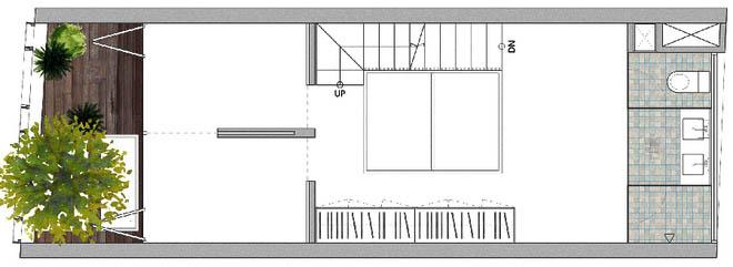 Mặt bằng tầng 2 - Nhà phố hiện đại 3 tầng 4x10m độc đáo với lam chắn nắng
