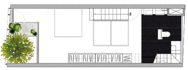 Mặt bằng tầng 3 - Nhà phố hiện đại 3 tầng 4x10m độc đáo với lam chắn nắng