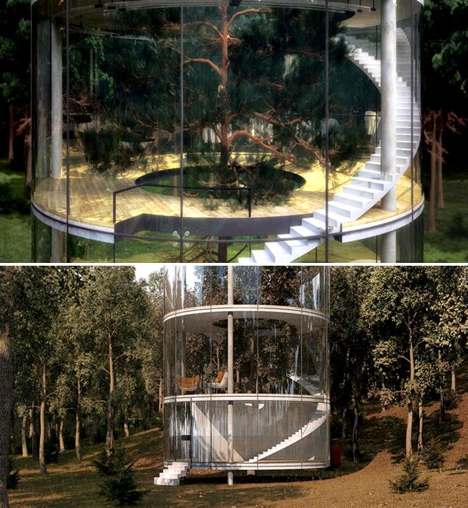 Quá lạ với căn nhà hình trụ bằng kính trong suốt giữa rừng rậm - Hình ảnh 02