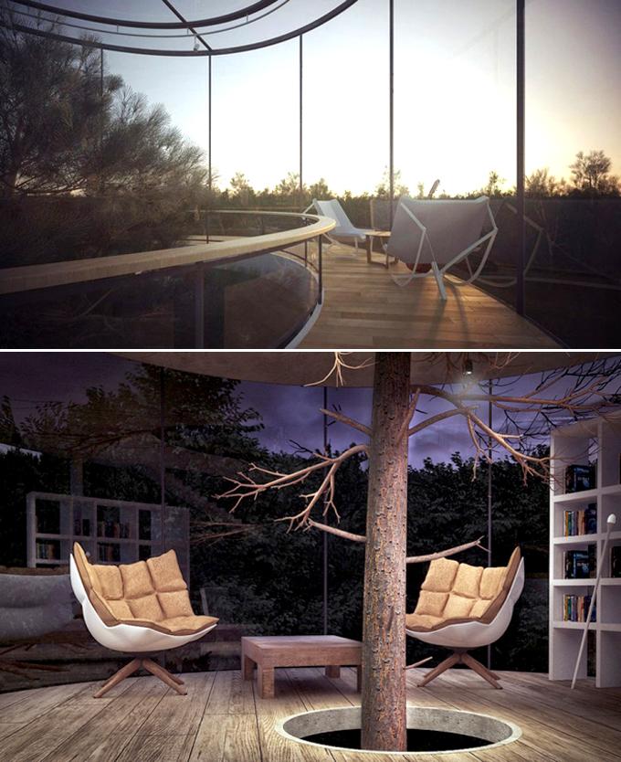 Quá lạ với căn nhà hình trụ bằng kính trong suốt giữa rừng rậm - Hình ảnh 03
