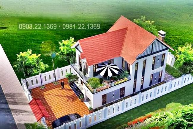 Phối cảnh kiến trúc công trình - Tham khảo mẫu thiết kế biệt thự mái thái 2 tầng 100m2
