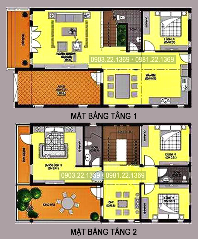 Mặt bằng tầng 1+2 - Tham khảo mẫu thiết kế biệt thự mái thái 2 tầng 100m2