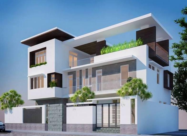 Phối cảnh 02 - Thiết kế biệt thự phố hiện đại 3 tầng 20x10m
