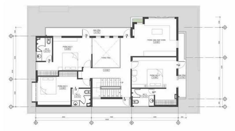 Mặt bằng tầng 2 - Thiết kế biệt thự phố hiện đại 3 tầng 20x10m