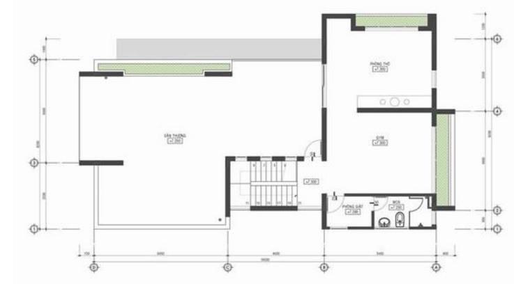 Mặt bằng tầng 3 - Thiết kế biệt thự phố hiện đại 3 tầng 20x10m