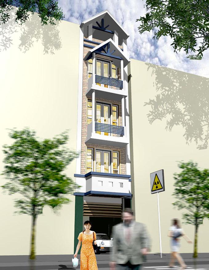 Phối cảnh kiến trúc - Thiết kế nhà ống 5 tầng rộng 3,5x25m hiện đại