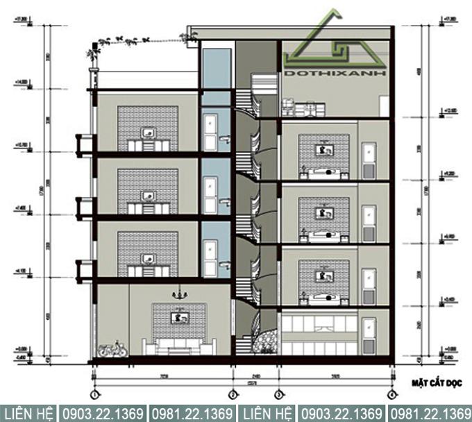 Mặt cắt đứng các tầng - Thiết kế nhà ống 5 tầng rộng 3,5x25m hiện đại