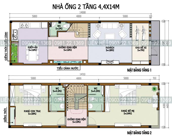Xem 5 mẫu mặt bằng nhà ống 2 tầng có diện tích khác nhau - Nhà phố 2 tầng 44x14m