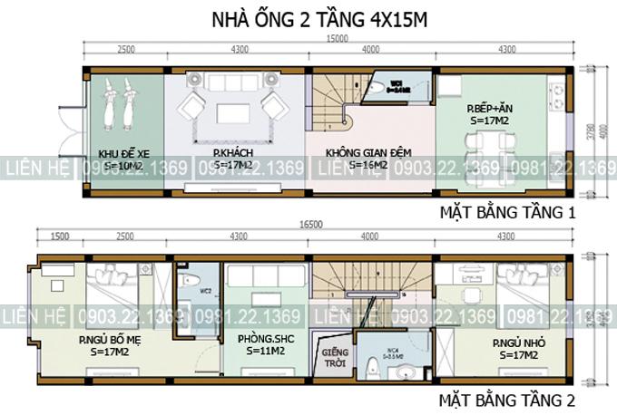 Xem 5 mẫu mặt bằng nhà ống 2 tầng có diện tích khác nhau - Nhà phố 2 tầng 4x15m
