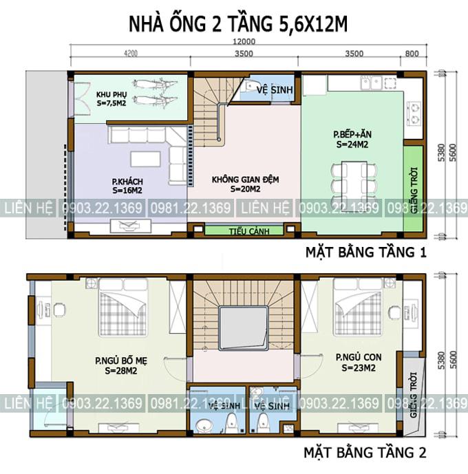 Xem 5 mẫu mặt bằng nhà ống 2 tầng có diện tích khác nhau - Nhà phố 2 tầng 56x12m
