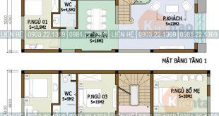 Xem 5 mẫu mặt bằng nhà ống 2 tầng có diện tích khác nhau - Nhà phố 2 tầng 5x13m
