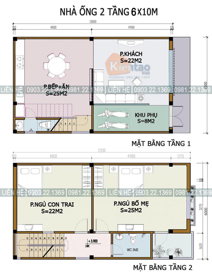 Xem 5 mẫu mặt bằng nhà ống 2 tầng có diện tích khác nhau - Nhà phố 2 tầng 6x10m