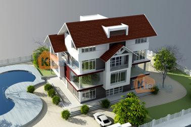 Phối cảnh góc 01 - Mẫu nhà biệt thự 4 tầng 13,5x10m kết hợp văn phòng công ty