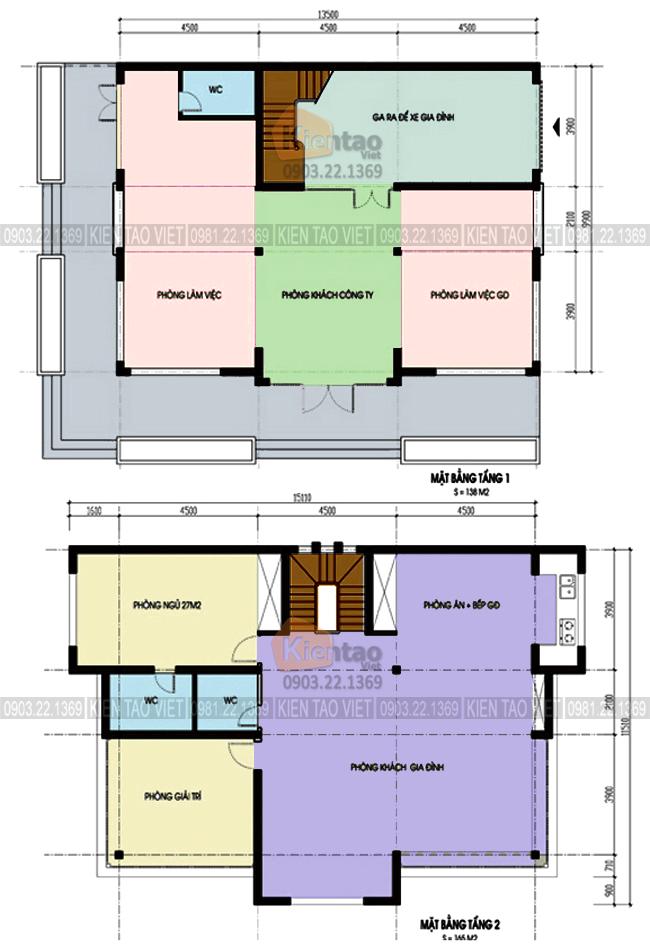 Mặt bằng tầng 1+2 - Mẫu nhà biệt thự 4 tầng 13,5x10m kết hợp văn phòng công ty
