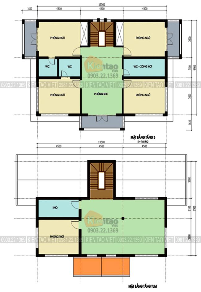 Mặt bằng tầng 3+4 - Mẫu nhà biệt thự 4 tầng 13,5x10m kết hợp văn phòng công ty