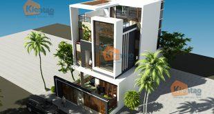 Phối cảnh sau cải tạo góc 1 - Mẫu thiết kế nhà biệt thự 4 tầng đẹp hiện đại 8,7x13,5m