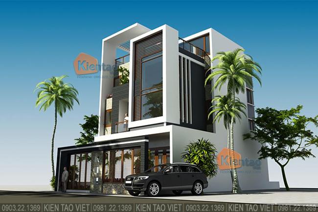 Phối cảnh sau cải tạo góc 2 - Mẫu thiết kế nhà biệt thự 4 tầng đẹp hiện đại 8,7x13,5m