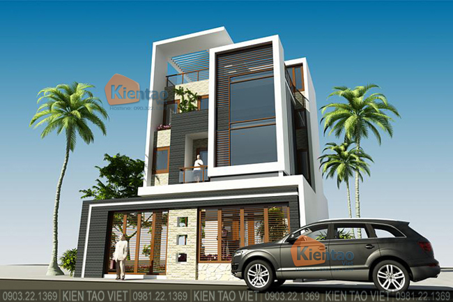 Phối cảnh sau cải tạo góc 3 - Mẫu thiết kế nhà biệt thự 4 tầng đẹp hiện đại 8,7x13,5m