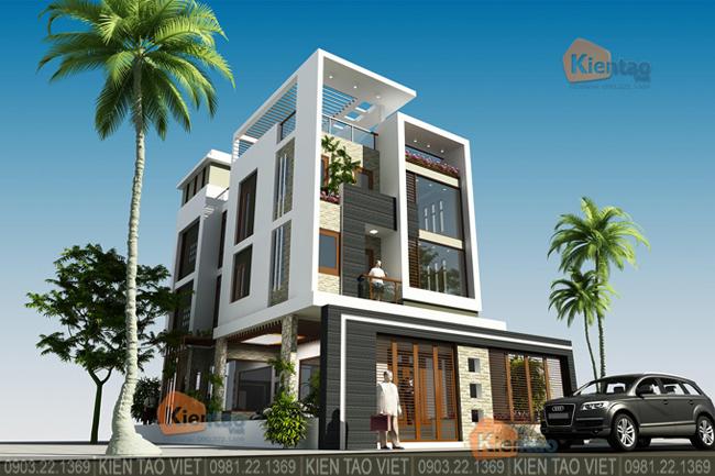 Phối cảnh sau cải tạo góc 4 - Mẫu thiết kế nhà biệt thự 4 tầng đẹp hiện đại 8,7x13,5m
