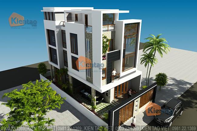 Phối cảnh sau cải tạo góc 5 - Mẫu thiết kế nhà biệt thự 4 tầng đẹp hiện đại 8,7x13,5m