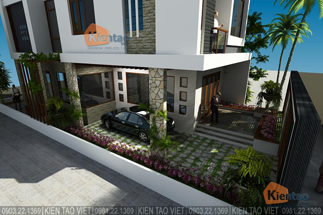 Phối cảnh sau cải tạo góc 6 - Mẫu thiết kế nhà biệt thự 4 tầng đẹp hiện đại 8,7x13,5m