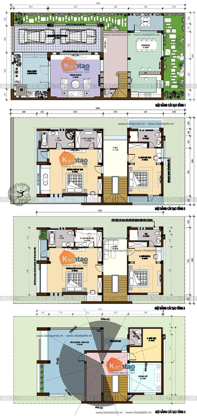 Mặt bằng tầng 1+2+3+4 - Mẫu thiết kế nhà biệt thự 4 tầng đẹp hiện đại 8,7x13,5m