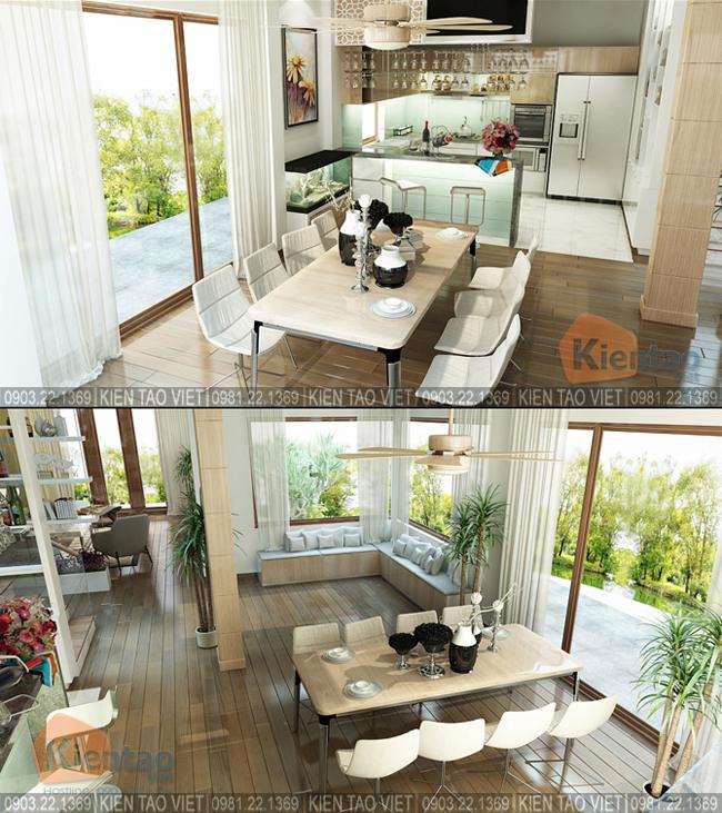 Nội thất phòng bếp ăn - Mẫu thiết kế nhà biệt thự 4 tầng đẹp hiện đại 8,7x13,5m