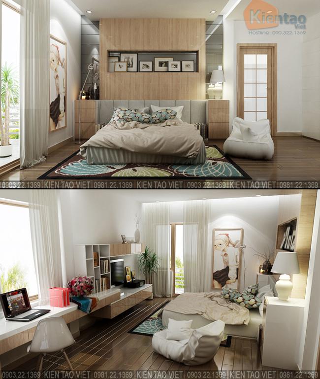 Nội thất phòng ngủ con gái - Mẫu thiết kế nhà biệt thự 4 tầng đẹp hiện đại 8,7x13,5m