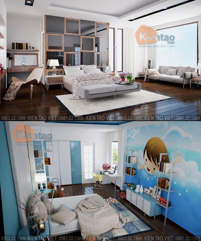 Nội thất phòng ngủ con trai cả+con út - Mẫu thiết kế nhà biệt thự 4 tầng đẹp hiện đại 8,7x13,5m