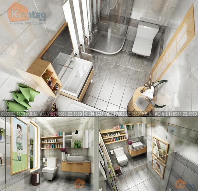 Nội thất phòng tắm+wc các tầng - Mẫu thiết kế nhà biệt thự 4 tầng đẹp hiện đại 8,7x13,5m