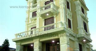 Phối cảnh kiến trúc góc 02 - Nhà biệt thự Pháp cổ 4 tầng 125m2 đẹp sang trọng đẳng cấp