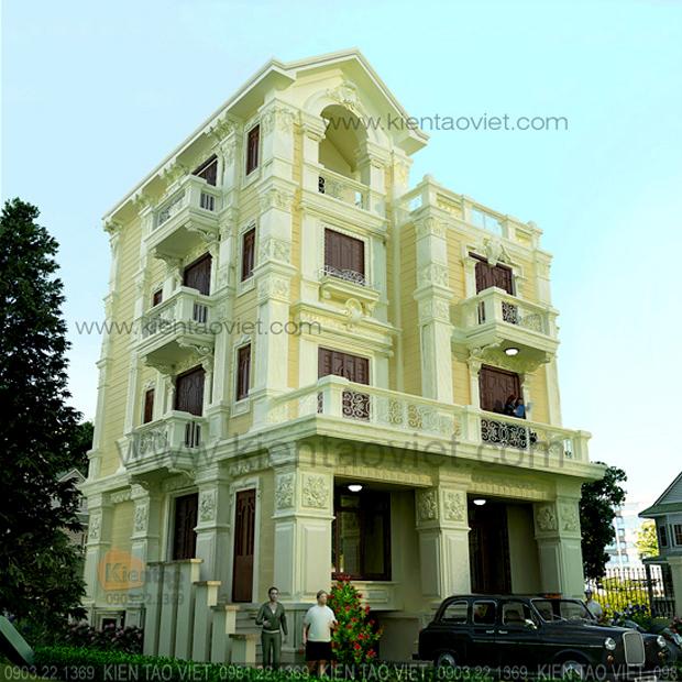 Phối cảnh kiến trúc góc 01 - Nhà biệt thự Pháp cổ 4 tầng 125m2 đẹp sang trọng đẳng cấp