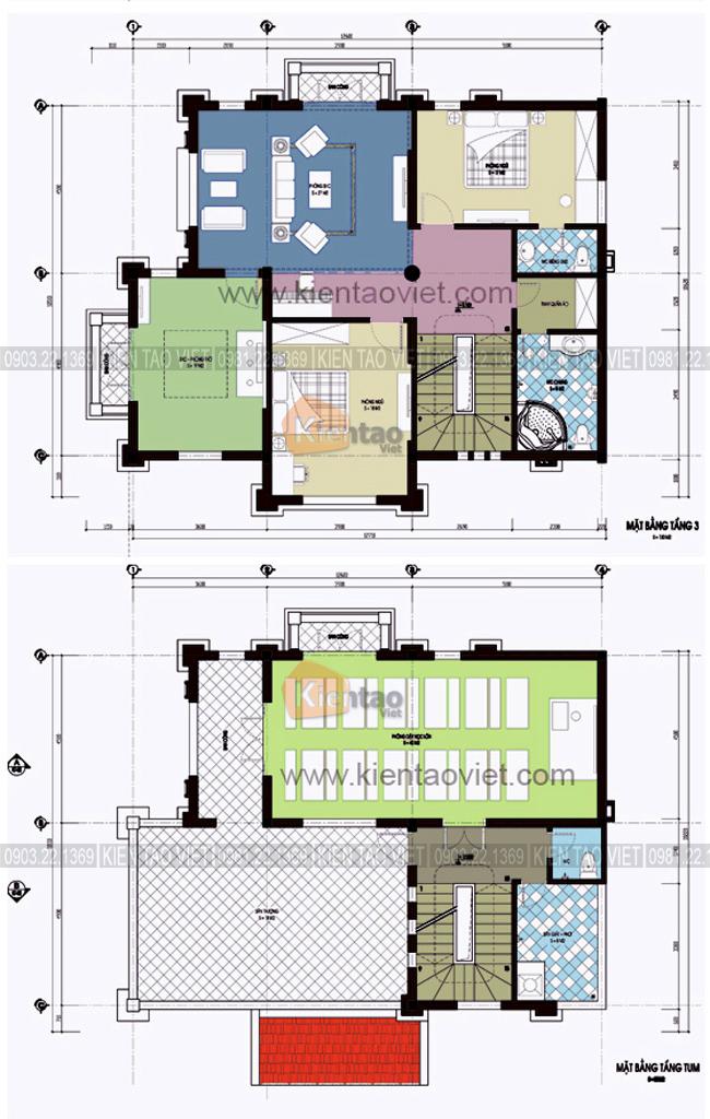 Mặt bằng tầng 3+4 - Nhà biệt thự Pháp cổ 4 tầng 125m2 đẹp sang trọng đẳng cấp