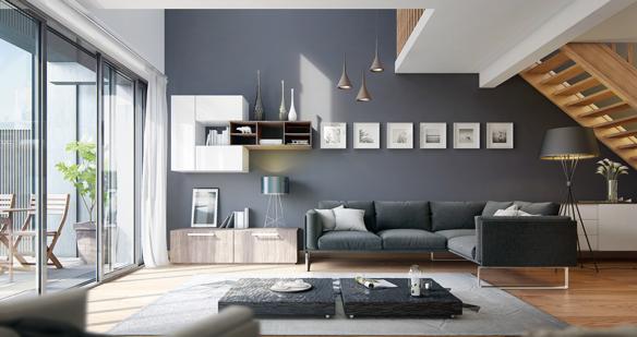 Không gian nhà đẹp màu lam, xám, trắng