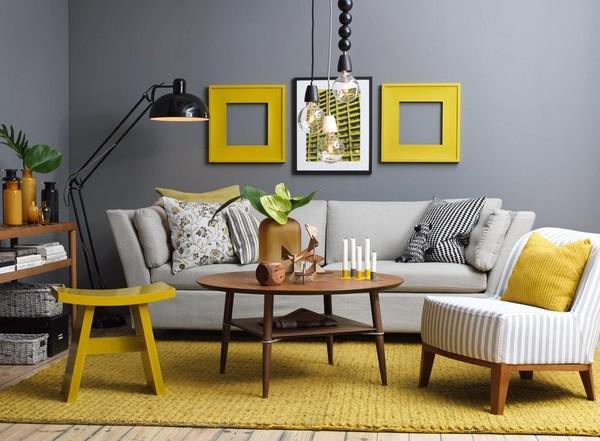 Không gian nhà đẹp phối màu vàng chanh, xám