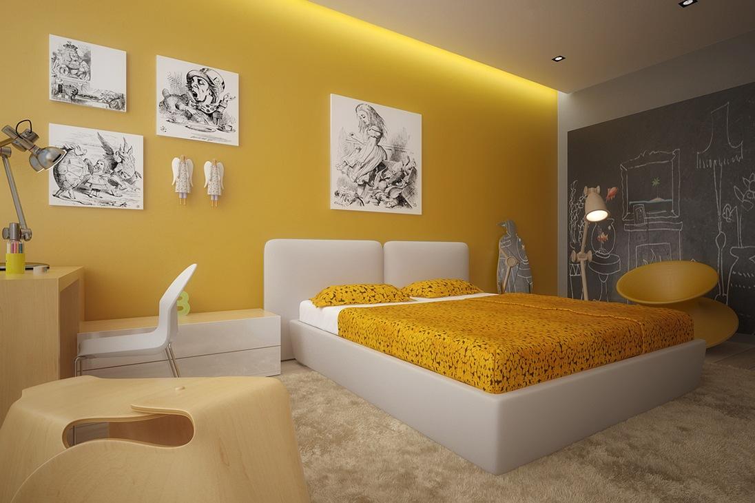 Không gian nhà đẹp phối màu vàng trắng