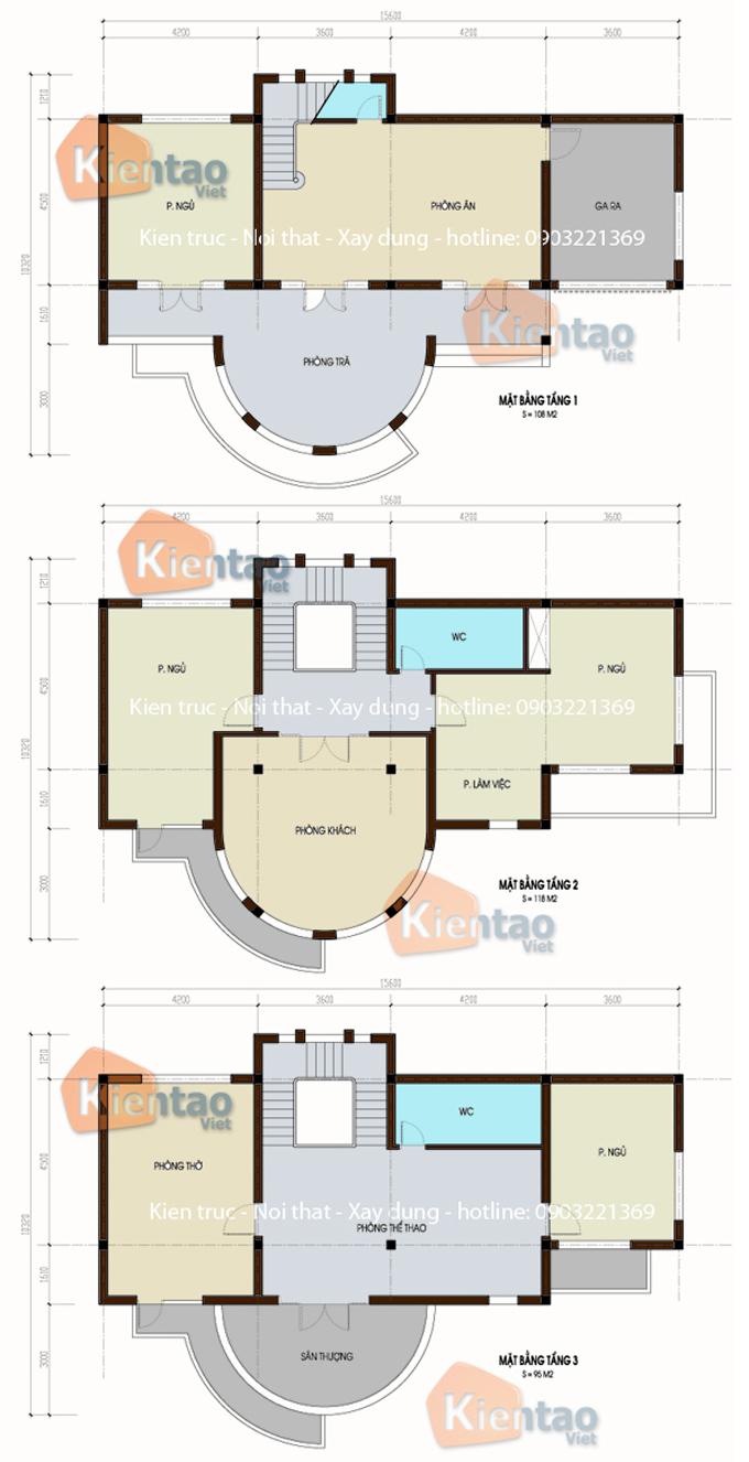 Mặt bằng công năng - Thiết kế mẫu biệt thự 3 tầng 10x15m hiện đại tại Từ Liêm, HN - BT01