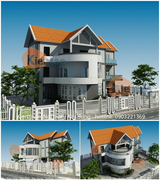 Phối cảnh kiến trúc - Thiết kế mẫu biệt thự 3 tầng 10x15m hiện đại tại Từ Liêm, HN - BT01