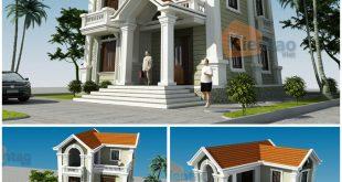 Giới thiệu mẫu nhà biệt thự 3 tầng cổ điển Pháp 110m2 tại Phủ Lỗ - Phối cảnh kiến trúc