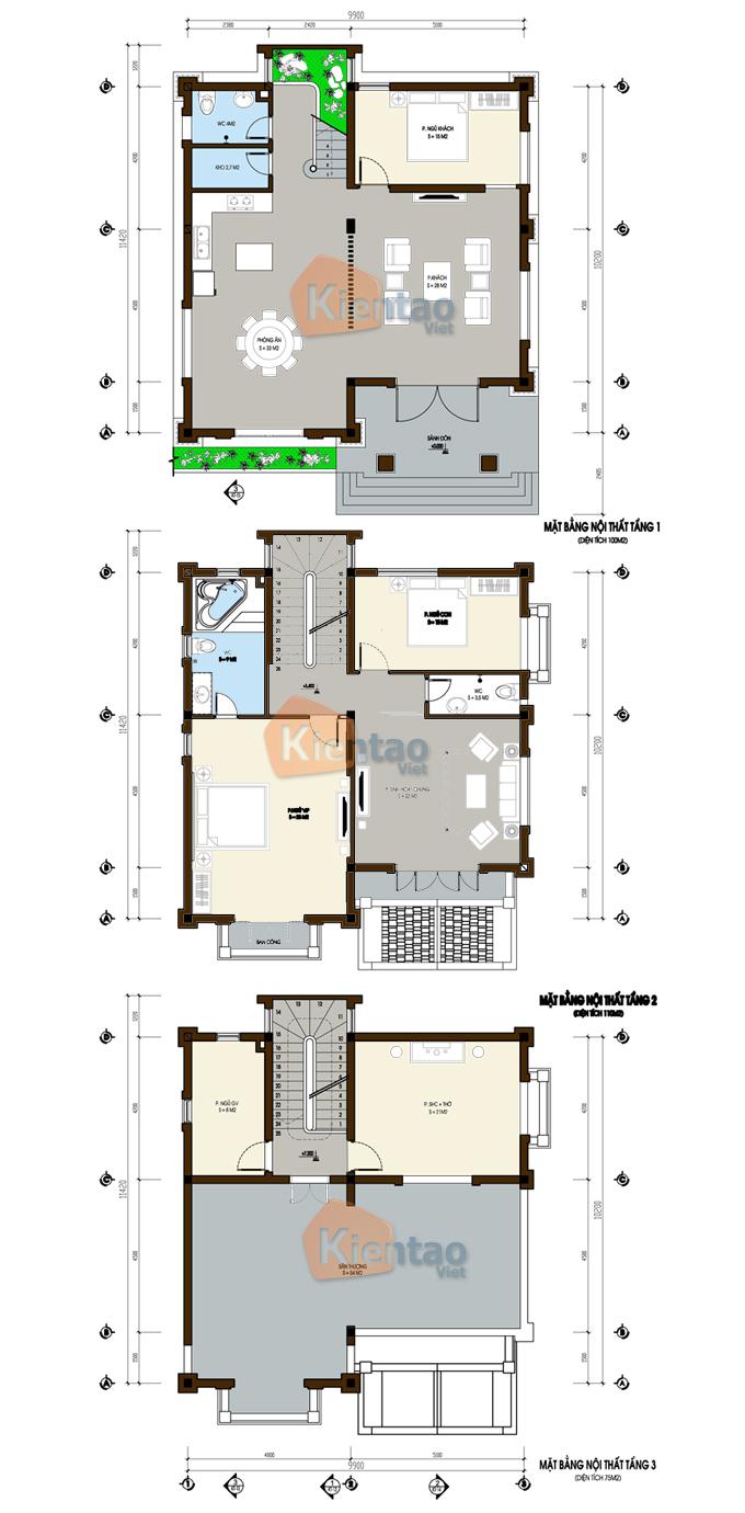 Mặt bằng công năng tầng 1, 2, 3 - Mẫu thiết kế nhà biệt thự 3 tầng cổ điển Pháp 110m2 tại Phủ Lỗ - BT02