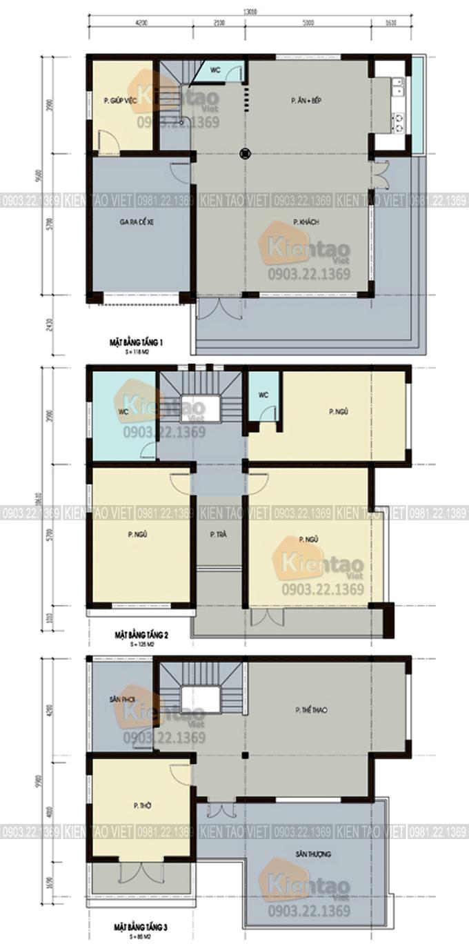 Mặt bằng tầng 1,2,3 - Mẫu thiết kế biệt thự 3 tầng hiện đại 120m2 ở Thanh Oai - BT03