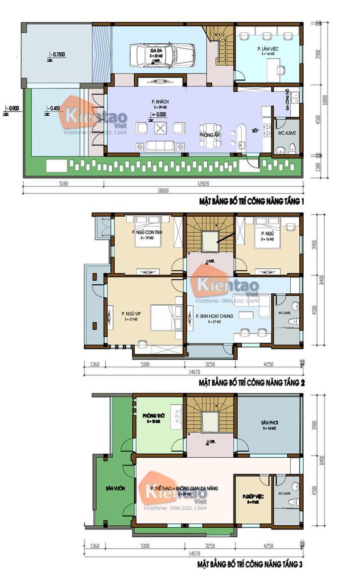 Ví dụ bản vẽ nhà biệt thự 3 tầng