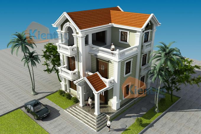 Thiết kế nhà biệt thự 3 tầng cổ điển Pháp 110m2 tại Phủ Lỗ - Phối cảnh 01