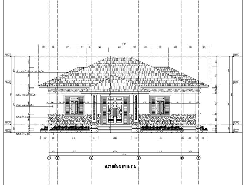 Mặt đứng trục F-A mẫu nhà đep 1 tầng 3 phòng ngủ