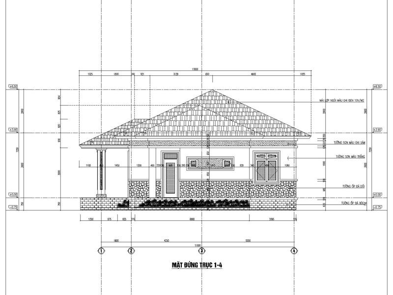 Mặt đứng trục 1-4 thiết kế nhà đẹp 1 tầng 3 phòng ngủ