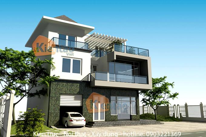 Thiết kế biệt thự 3 tầng hiện đại 120m2 ở Thanh Oai - Phối cảnh 03
