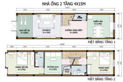 Bản vẽ công năng mẫu nhà phố 2 tầng 4x15m